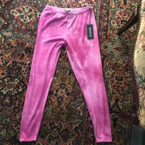 Wildfox fleece hot pink tie dye jogger sweatpants